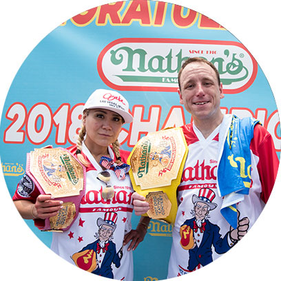 Miki and Joey with their smiling belts